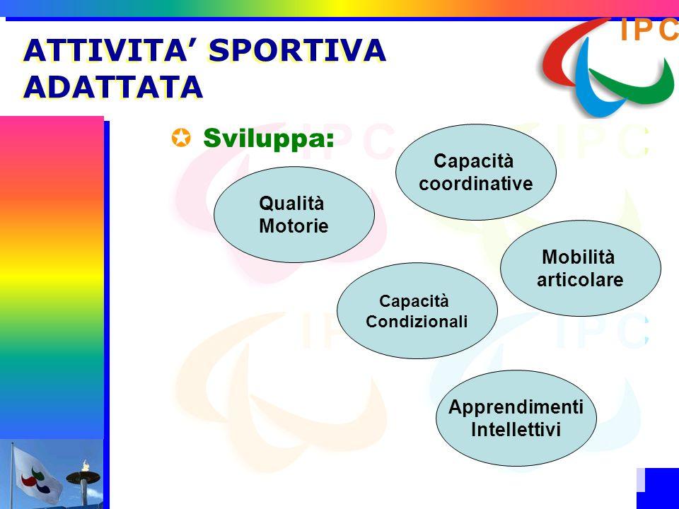 Sviluppa: ATTIVITA SPORTIVA ADATTATA Qualità Motorie Capacità Condizionali Capacità coordinative Apprendimenti Intellettivi Mobilità articolare