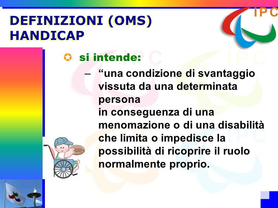 DEFINIZIONI (OMS) HANDICAP si intende: –una condizione di svantaggio vissuta da una determinata persona in conseguenza di una menomazione o di una dis