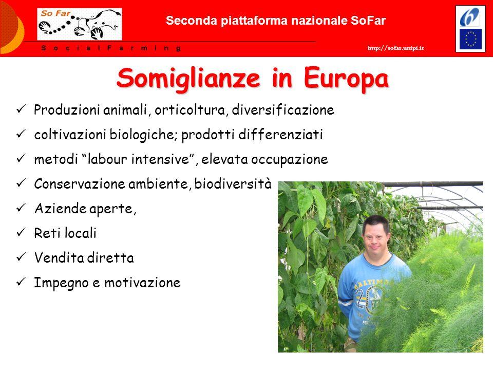 Somiglianze in Europa Produzioni animali, orticoltura, diversificazione coltivazioni biologiche; prodotti differenziati metodi labour intensive, eleva