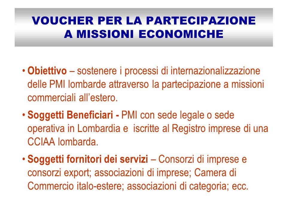 VOUCHER PER LA PARTECIPAZIONE A MISSIONI ECONOMICHE Obiettivo – sostenere i processi di internazionalizzazione delle PMI lombarde attraverso la partecipazione a missioni commerciali allestero.