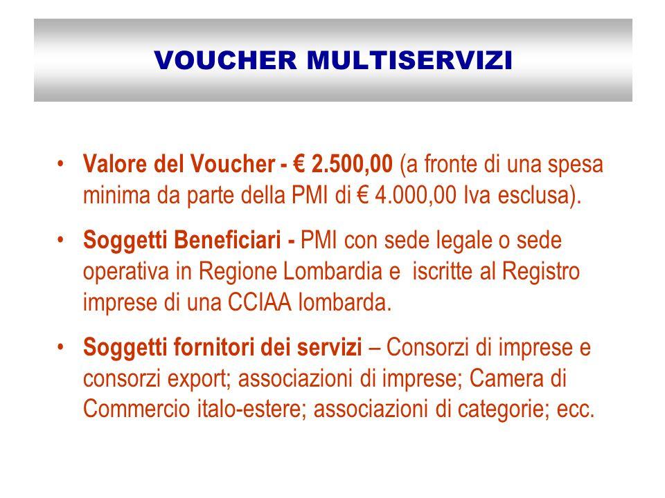 VOUCHER MULTISERVIZI Valore del Voucher - 2.500,00 (a fronte di una spesa minima da parte della PMI di 4.000,00 Iva esclusa).