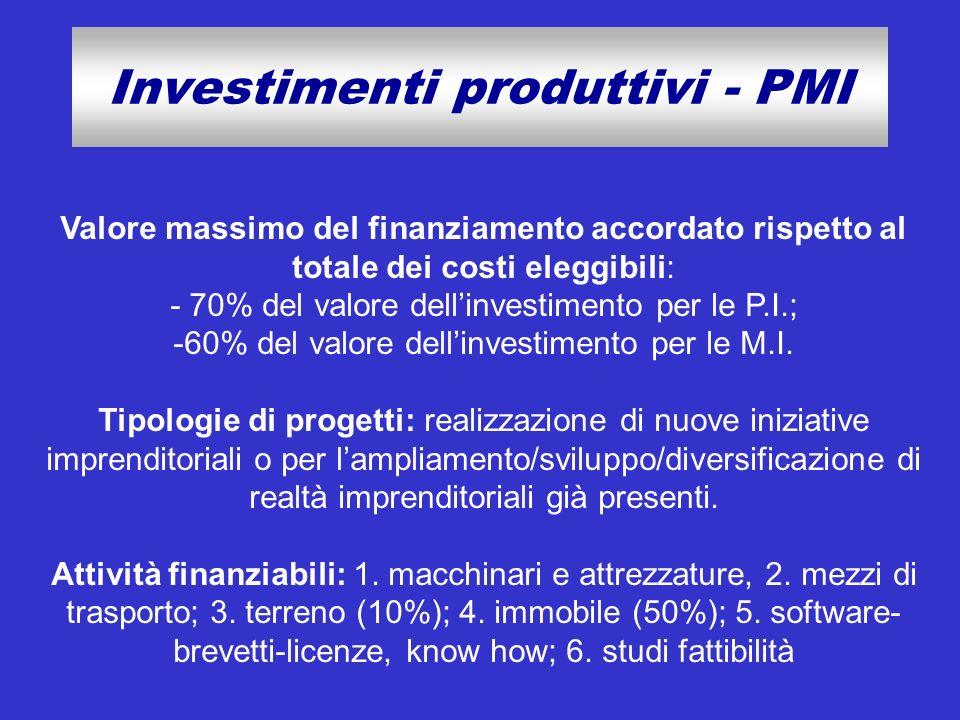 Investimenti produttivi - PMI Valore massimo del finanziamento accordato rispetto al totale dei costi eleggibili: - 70% del valore dellinvestimento pe