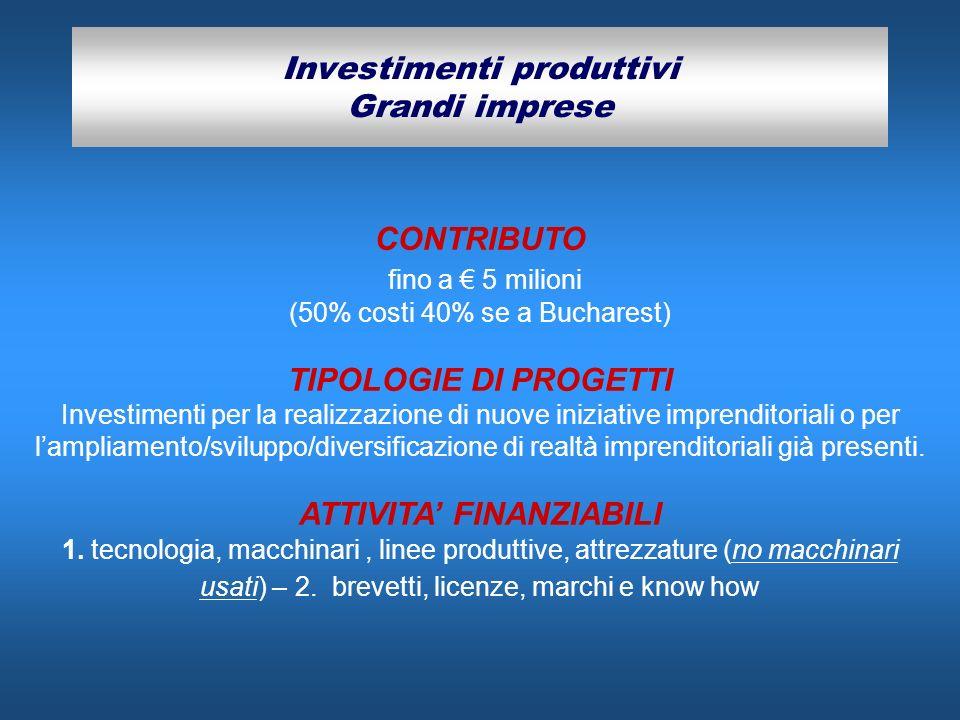 Investimenti produttivi Grandi imprese CONTRIBUTO fino a 5 milioni (50% costi 40% se a Bucharest) TIPOLOGIE DI PROGETTI Investimenti per la realizzazi