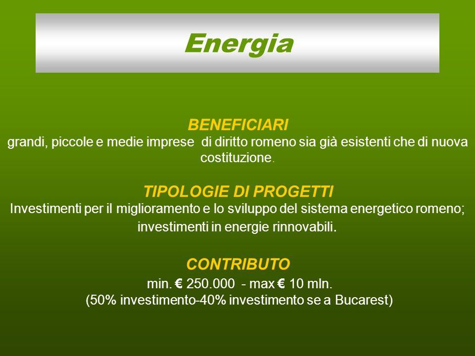 Energia BENEFICIARI grandi, piccole e medie imprese di diritto romeno sia già esistenti che di nuova costituzione. TIPOLOGIE DI PROGETTI Investimenti