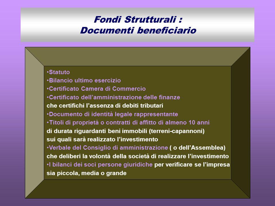 Statuto Bilancio ultimo esercizio Certificato Camera di Commercio Certificato dellamministrazione delle finanze che certifichi lassenza di debiti trib