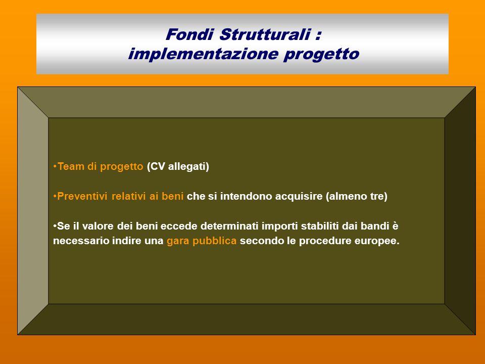 Team di progetto (CV allegati) Preventivi relativi ai beni che si intendono acquisire (almeno tre) Se il valore dei beni eccede determinati importi st