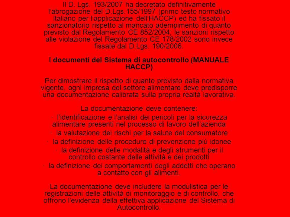 Il D. Lgs. 193/2007 ha decretato definitivamente labrogazione del D.Lgs.155/1997 (primo testo normativo italiano per lapplicazione dellHACCP) ed ha fi