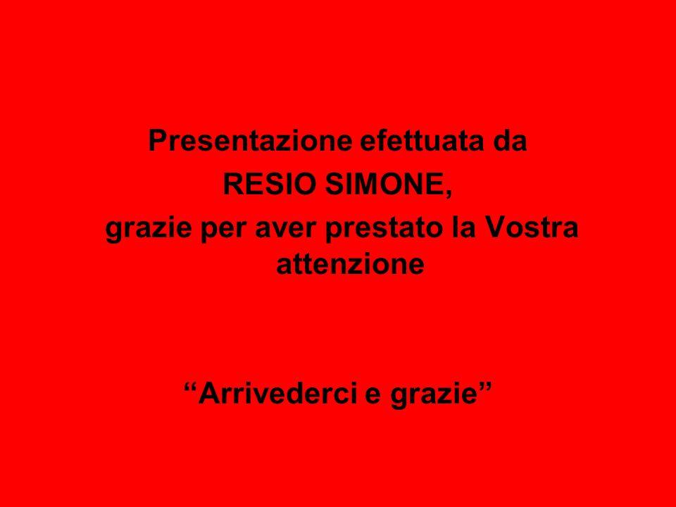 Presentazione efettuata da RESIO SIMONE, grazie per aver prestato la Vostra attenzione Arrivederci e grazie