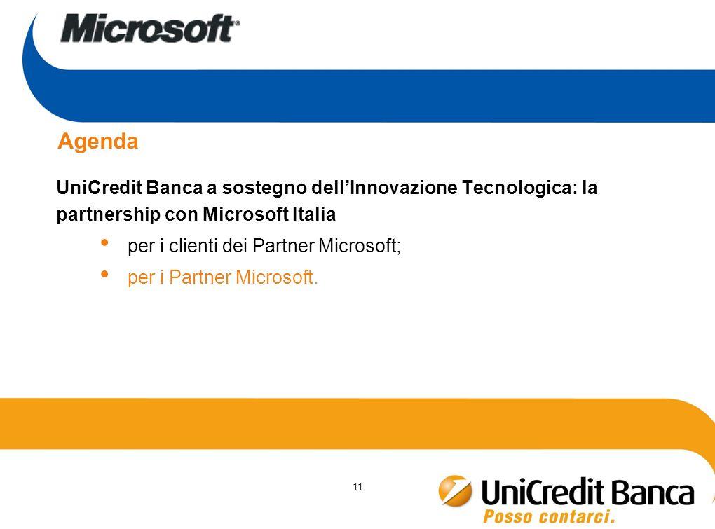11 Agenda UniCredit Banca a sostegno dellInnovazione Tecnologica: la partnership con Microsoft Italia per i clienti dei Partner Microsoft; per i Partn