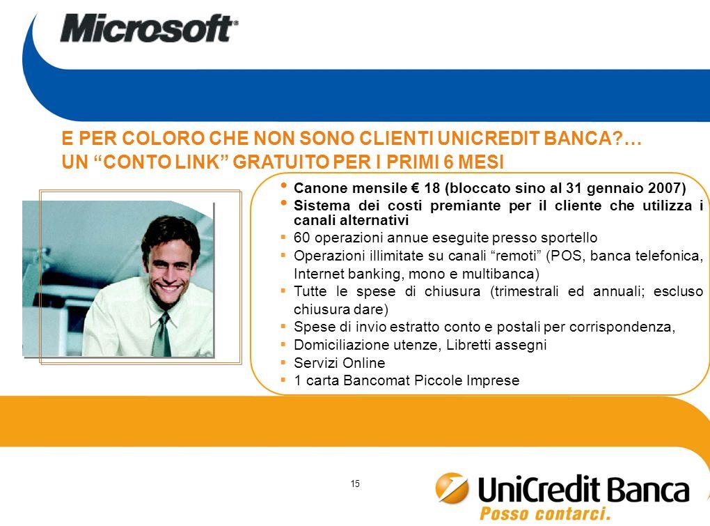 15 Canone mensile 18 (bloccato sino al 31 gennaio 2007) Sistema dei costi premiante per il cliente che utilizza i canali alternativi 60 operazioni ann
