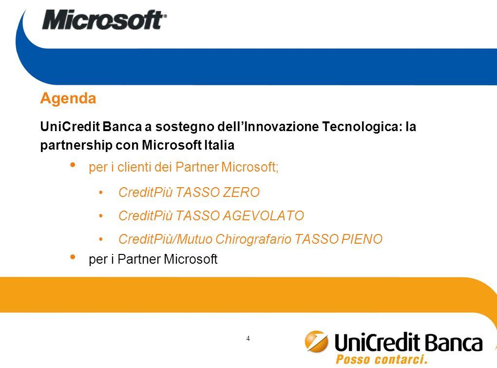 4 Agenda UniCredit Banca a sostegno dellInnovazione Tecnologica: la partnership con Microsoft Italia per i clienti dei Partner Microsoft; CreditPiù TA
