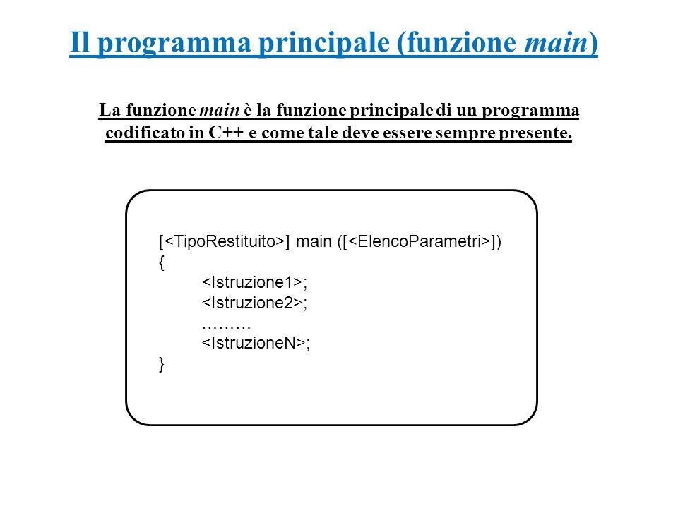 Il programma principale (funzione main) La funzione main è la funzione principale di un programma codificato in C++ e come tale deve essere sempre pre