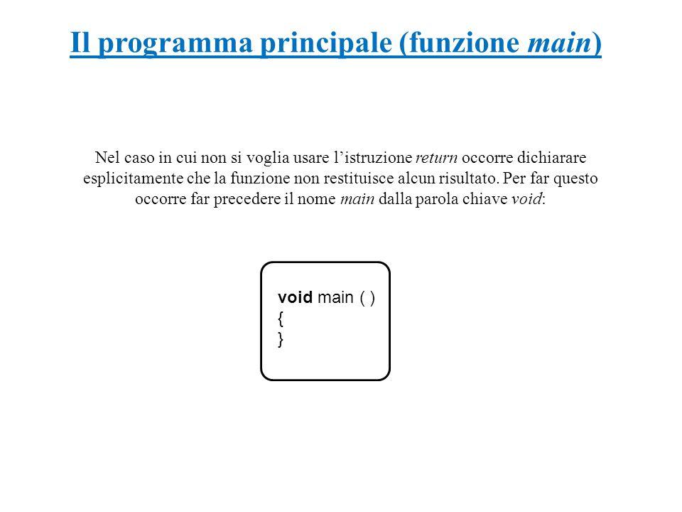 Il programma principale (funzione main) void main ( ) { } Nel caso in cui non si voglia usare listruzione return occorre dichiarare esplicitamente che