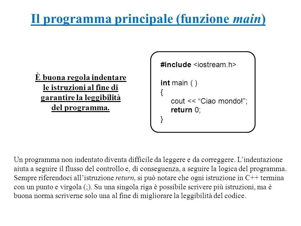 Il programma principale (funzione main) È buona regola indentare le istruzioni al fine di garantire la leggibilità del programma. #include int main (