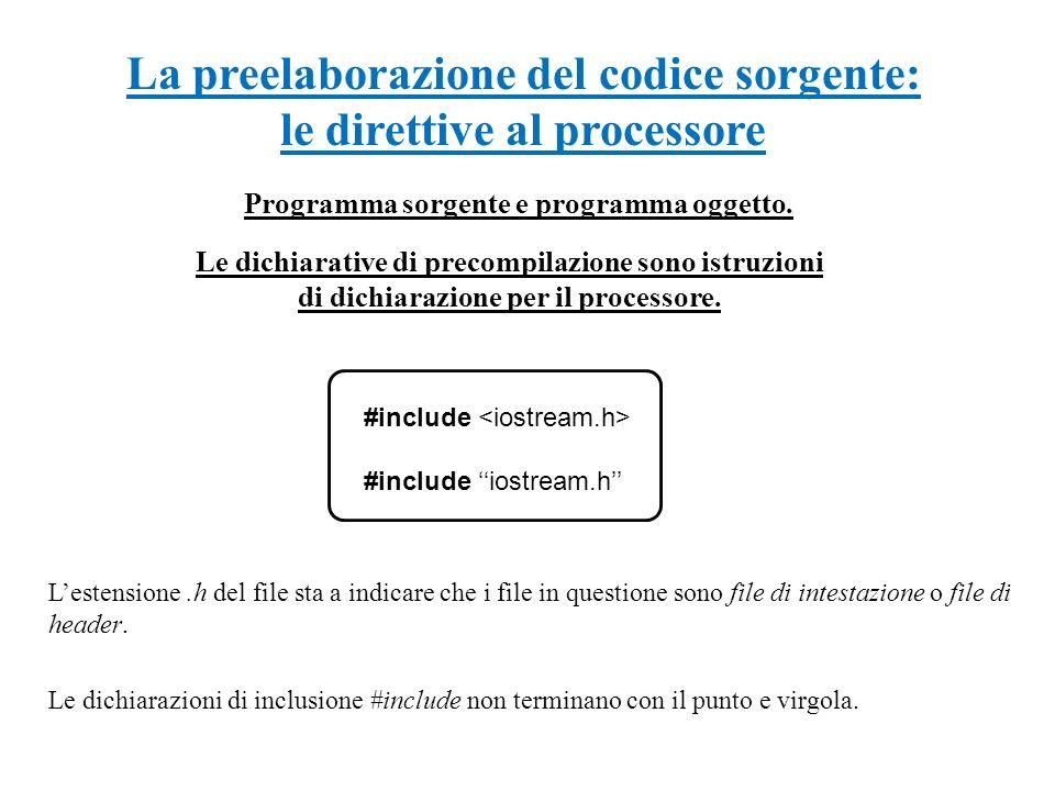 La preelaborazione del codice sorgente: le direttive al processore Programma sorgente e programma oggetto. Le dichiarative di precompilazione sono ist