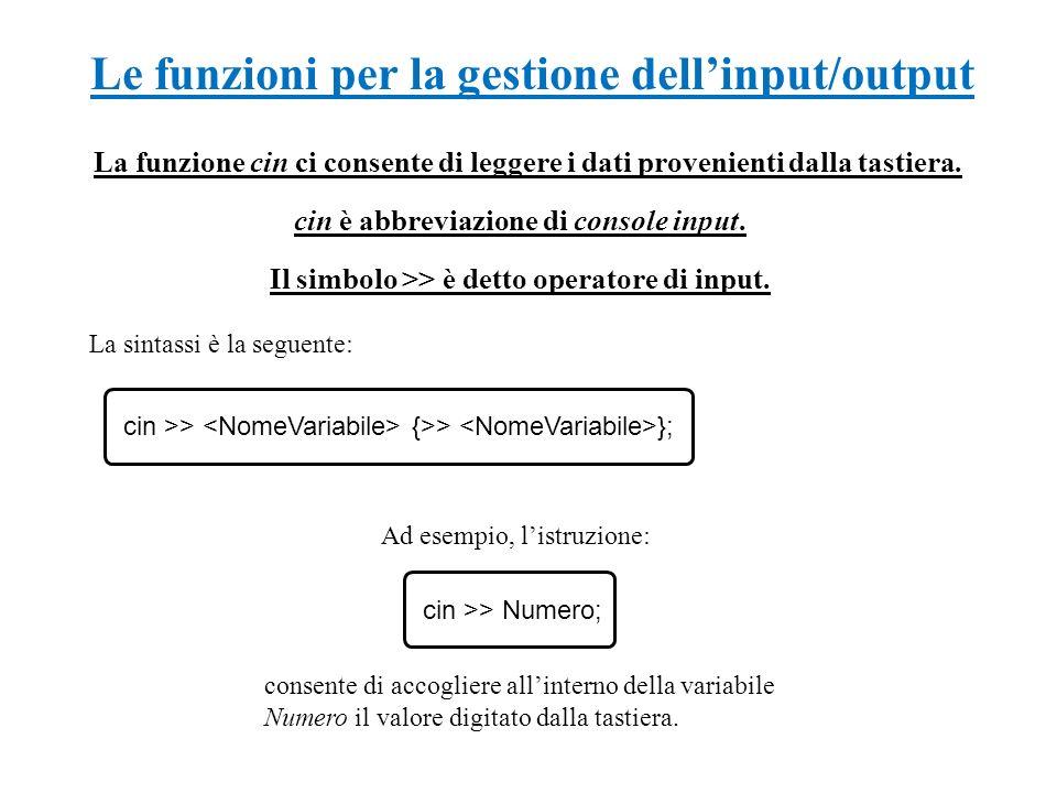 Le funzioni per la gestione dellinput/output La funzione cin ci consente di leggere i dati provenienti dalla tastiera. Ad esempio, listruzione: consen
