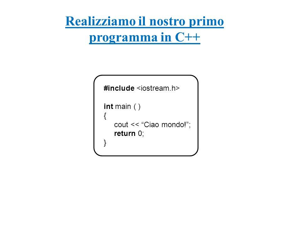 Realizziamo il nostro primo programma in C++ #include int main ( ) { cout << Ciao mondo!; return 0; }