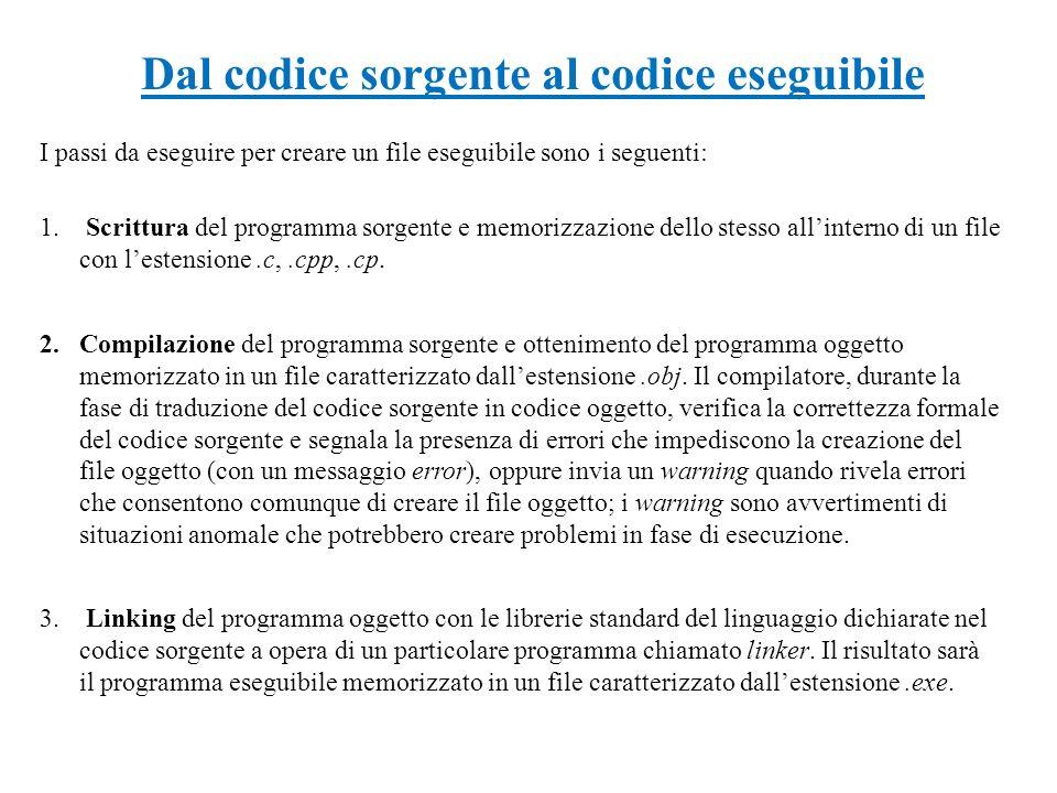 Dal codice sorgente al codice eseguibile 1. Scrittura del programma sorgente e memorizzazione dello stesso allinterno di un file con lestensione.c,.cp