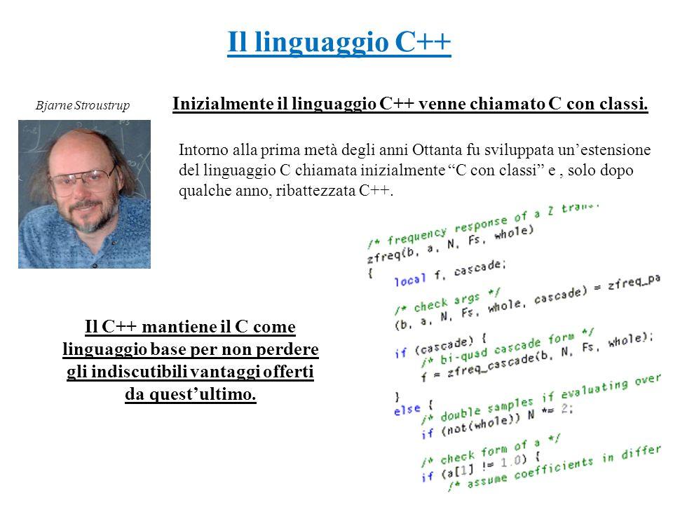 Inizialmente il linguaggio C++ venne chiamato C con classi. Intorno alla prima metà degli anni Ottanta fu sviluppata unestensione del linguaggio C chi