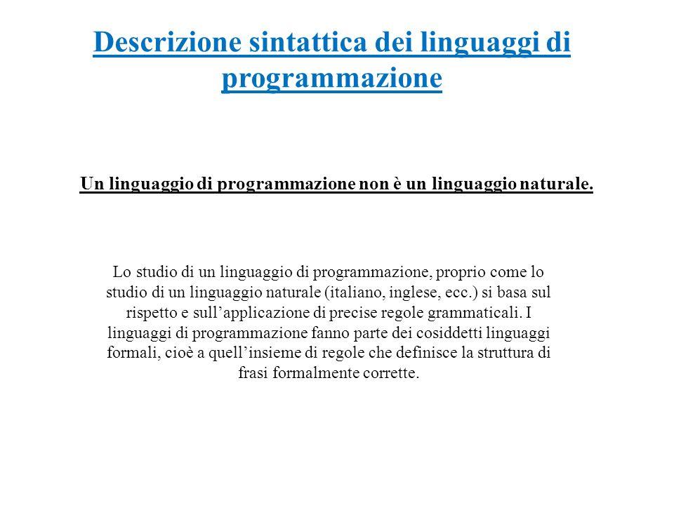 Descrizione sintattica dei linguaggi di programmazione Un linguaggio di programmazione non è un linguaggio naturale. Lo studio di un linguaggio di pro