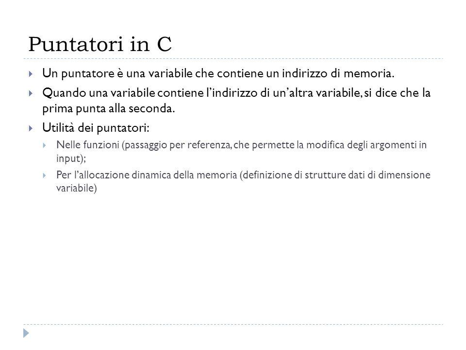Puntatori in C Un puntatore è una variabile che contiene un indirizzo di memoria. Quando una variabile contiene lindirizzo di unaltra variabile, si di