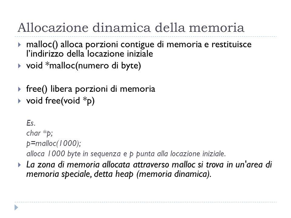 Allocazione dinamica della memoria malloc() alloca porzioni contigue di memoria e restituisce lindirizzo della locazione iniziale void *malloc(numero