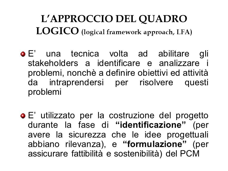 LAPPROCCIO DEL QUADRO LOGICO (logical framework approach, LFA) E una tecnica volta ad abilitare gli stakeholders a identificare e analizzare i problem