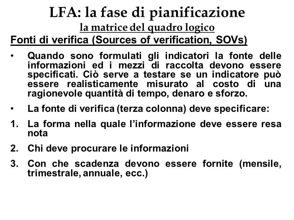 LFA: la fase di pianificazione la matrice del quadro logico Fonti di verifica (Sources of verification, SOVs) Quando sono formulati gli indicatori la
