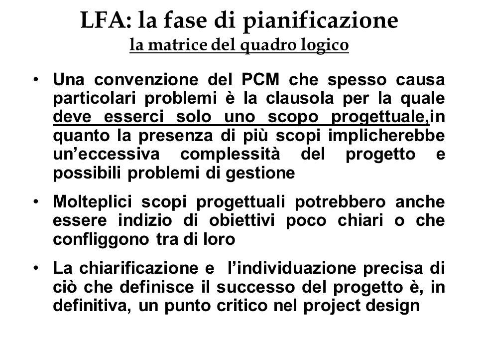 LFA: la fase di pianificazione la matrice del quadro logico Una convenzione del PCM che spesso causa particolari problemi è la clausola per la quale d