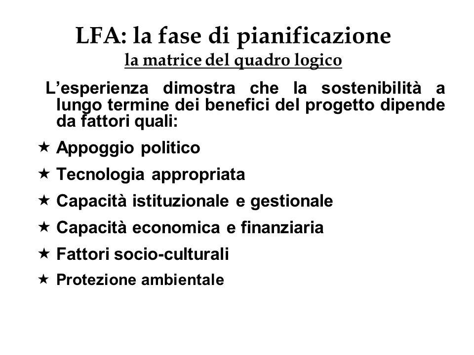 LFA: la fase di pianificazione la matrice del quadro logico Lesperienza dimostra che la sostenibilità a lungo termine dei benefici del progetto dipend