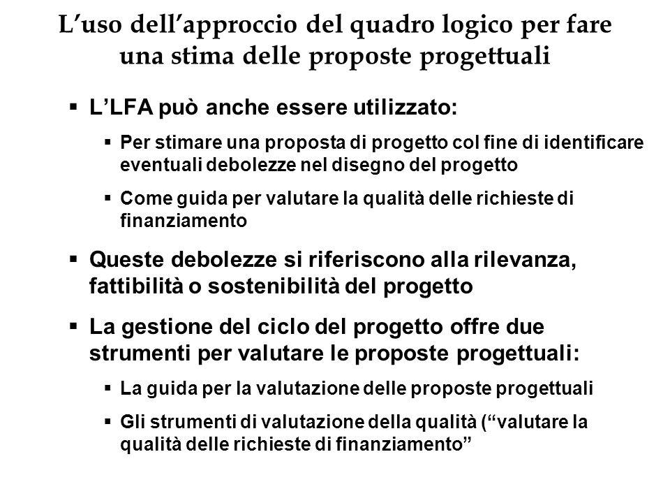 Luso dellapproccio del quadro logico per fare una stima delle proposte progettuali LLFA può anche essere utilizzato: Per stimare una proposta di proge