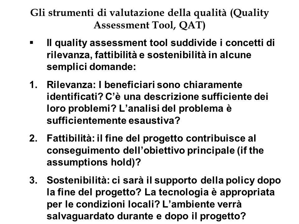 Gli strumenti di valutazione della qualità (Quality Assessment Tool, QAT) Il quality assessment tool suddivide i concetti di rilevanza, fattibilità e