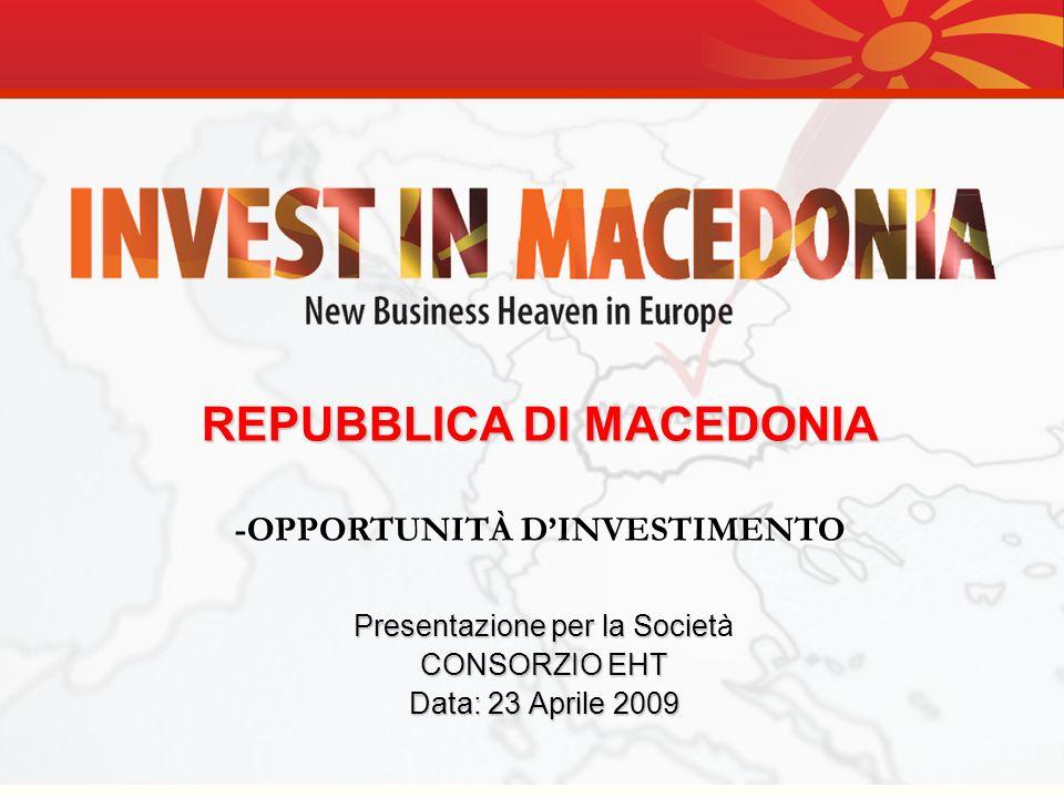 Vi ringraziamo per lattenzione AGENZIA PER GLI INVESTIMENTI ESTERI NELLA REPUBBLICA DI MACEDONIA Tel: ++ 389 2 3117 564 Fax: ++ 389 2 3122 098 e-mail: fdi@investinmacedonia.com web: www.investinmacedonia.com Nikola Vapcarov, 7 1000 Skopje Repubblica di Macedonia