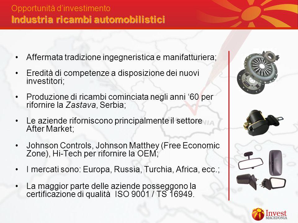 Industria ricambi automobilistici Opportunità dinvestimento Industria ricambi automobilistici Affermata tradizione ingegneristica e manifatturiera; Er