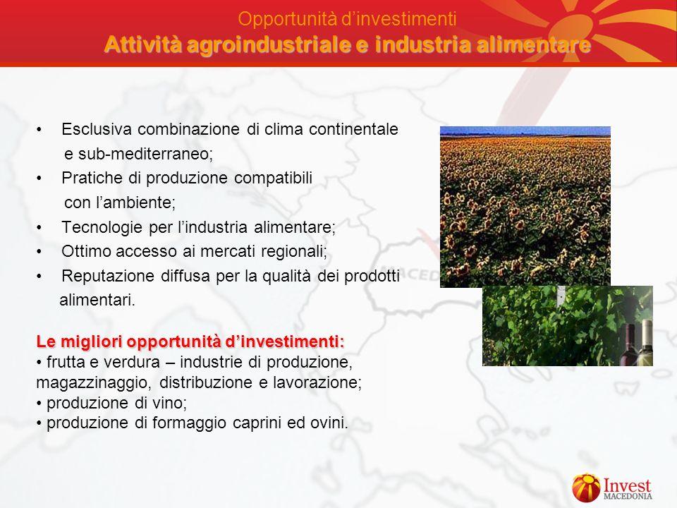 Attività agroindustriale e industria alimentare Opportunità dinvestimenti Attività agroindustriale e industria alimentare Esclusiva combinazione di cl