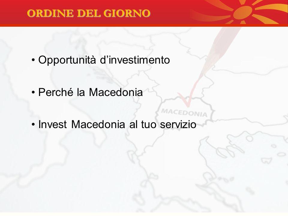 REPUBBLICA DI MACEDONIA AT A GLANCE: Superficie: 25.713 km2 Popolazione: 2.045.262 abitanti Capitale: Skopje Rete stradale: 9.205 km Rete ferroviaria: 900 km Due corridoi paneuropei: –Corridoio 8 Est-Ovest –Corridoio 10 Nord-Sud Due aeroporti internazionali: Skopje e Ohrid Porti internazionali: - Salonicco (Grecia) : 250km - Durazzo (Albania) : 300 km INFRASTRUTTURE E TRASPORTI INFORMAZIONI GENERALI