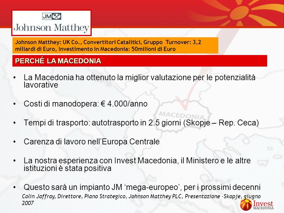 La Macedonia ha ottenuto la miglior valutazione per le potenzialità lavorative Costi di manodopera: 4.000/anno Tempi di trasporto: autotrasporto in 2.