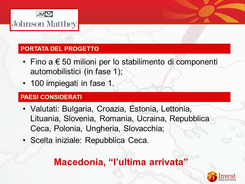 Fino a 50 milioni per lo stabilimento di componenti automobilistici (in fase 1); 100 impiegati in fase 1. Valutati: Bulgaria, Croazia, Estonia, Letton