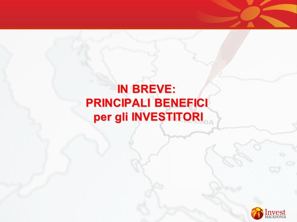 IN BREVE: PRINCIPALI BENEFICI per gli INVESTITORI per gli INVESTITORI