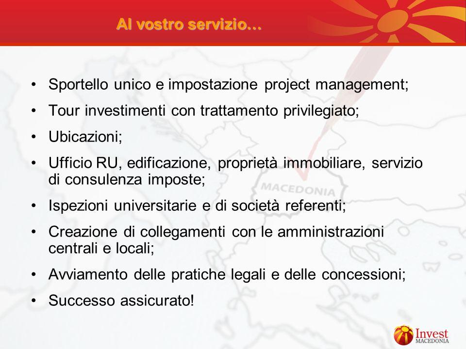 Al vostro servizio… Sportello unico e impostazione project management; Tour investimenti con trattamento privilegiato; Ubicazioni; Ufficio RU, edifica