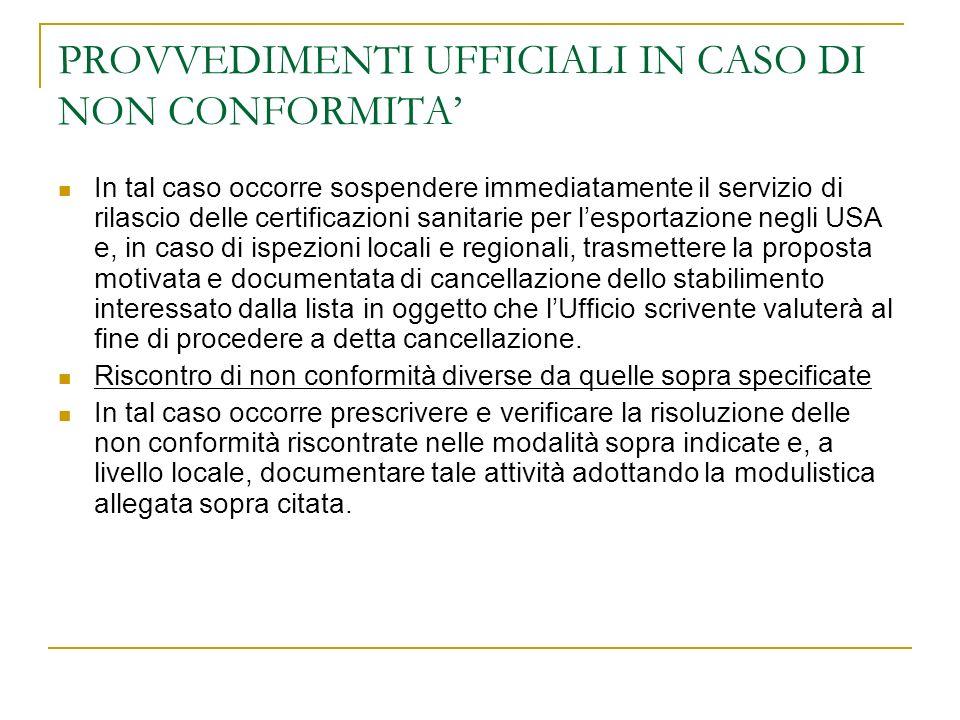 PROVVEDIMENTI UFFICIALI IN CASO DI NON CONFORMITA In tal caso occorre sospendere immediatamente il servizio di rilascio delle certificazioni sanitarie