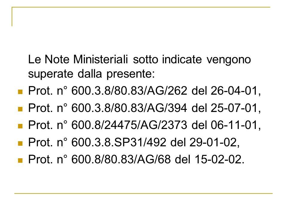 Le Note Ministeriali sotto indicate vengono superate dalla presente: Prot. n° 600.3.8/80.83/AG/262 del 26-04-01, Prot. n° 600.3.8/80.83/AG/394 del 25-