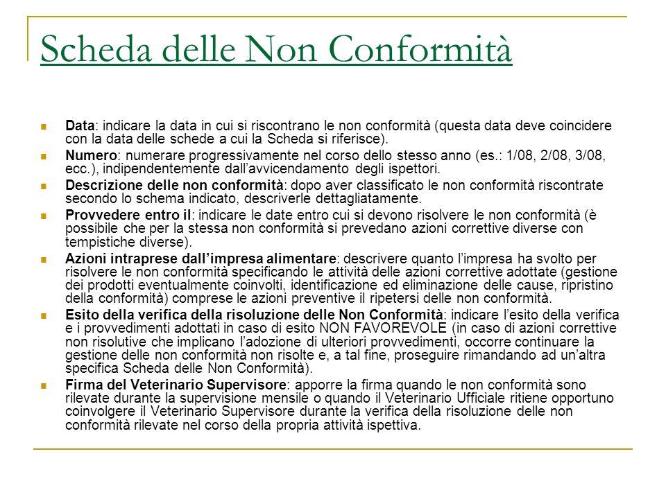 Scheda delle Non Conformità Data: indicare la data in cui si riscontrano le non conformità (questa data deve coincidere con la data delle schede a cui