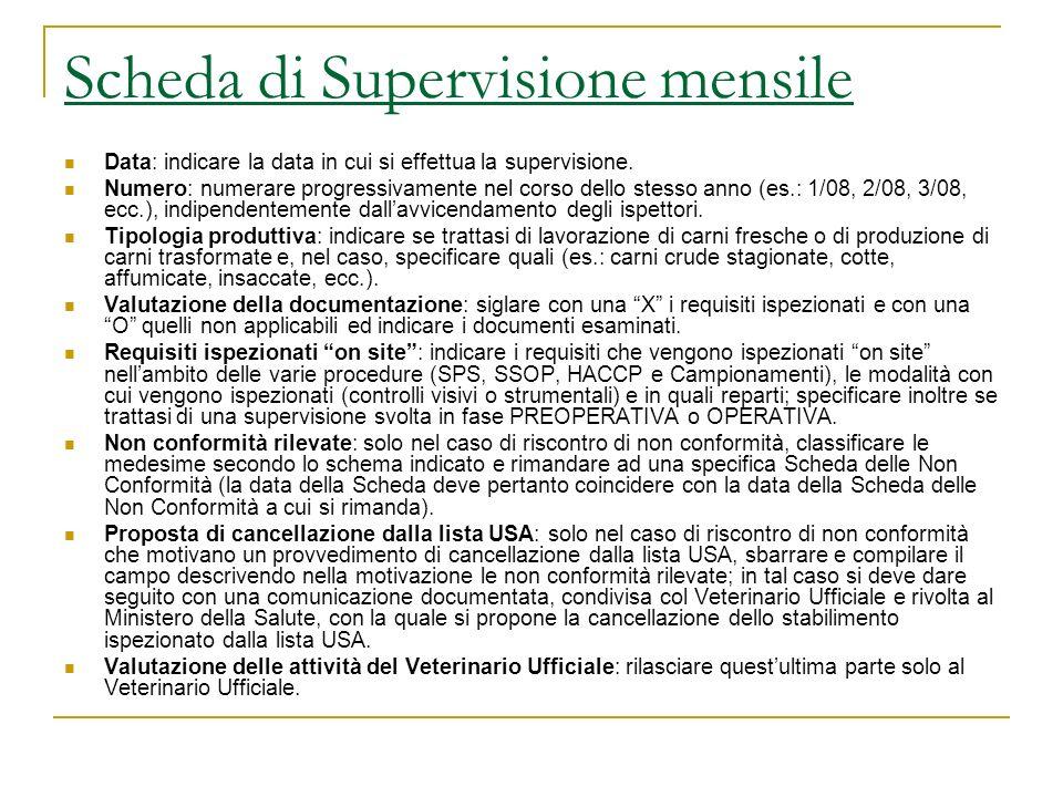 Scheda di Supervisione mensile Data: indicare la data in cui si effettua la supervisione. Numero: numerare progressivamente nel corso dello stesso ann