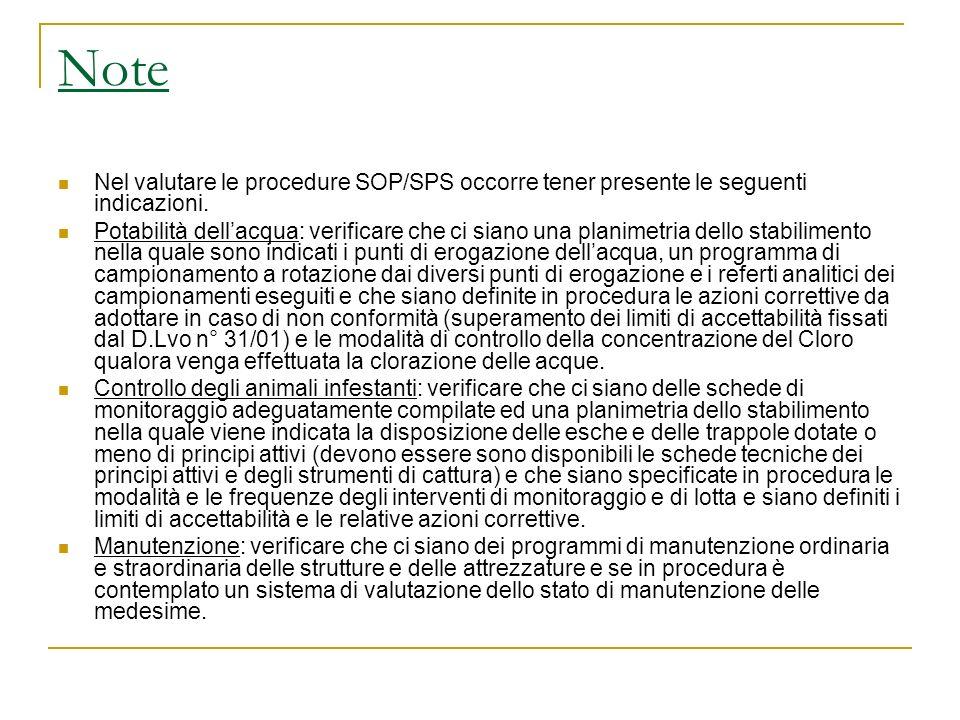 Note Nel valutare le procedure SOP/SPS occorre tener presente le seguenti indicazioni. Potabilità dellacqua: verificare che ci siano una planimetria d