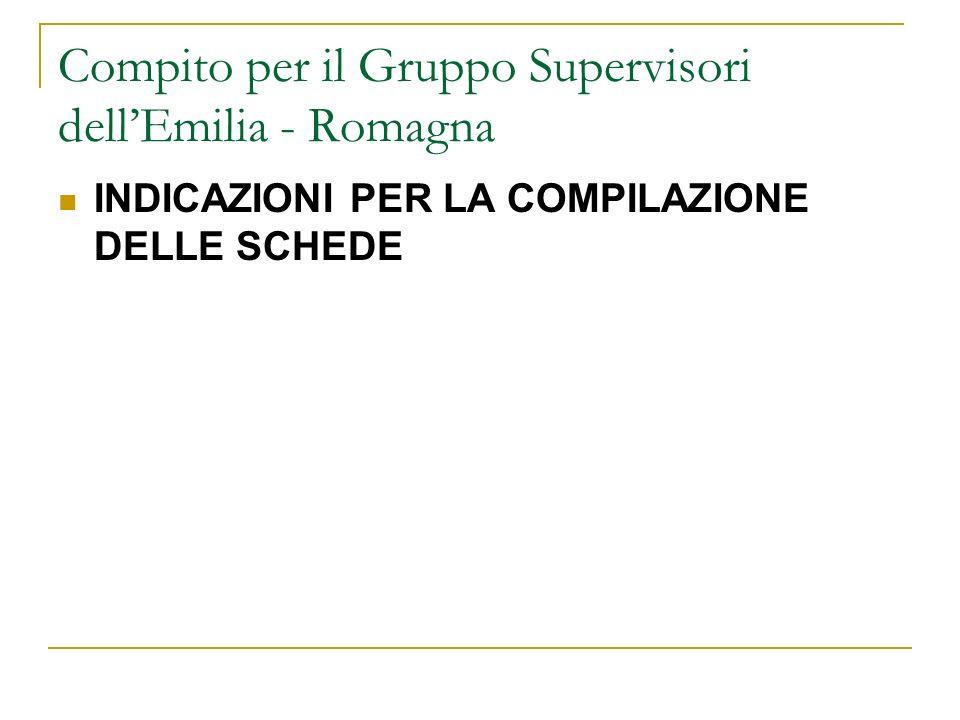 Compito per il Gruppo Supervisori dellEmilia - Romagna INDICAZIONI PER LA COMPILAZIONE DELLE SCHEDE