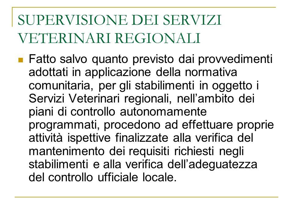 SUPERVISIONE DEI SERVIZI VETERINARI REGIONALI Fatto salvo quanto previsto dai provvedimenti adottati in applicazione della normativa comunitaria, per