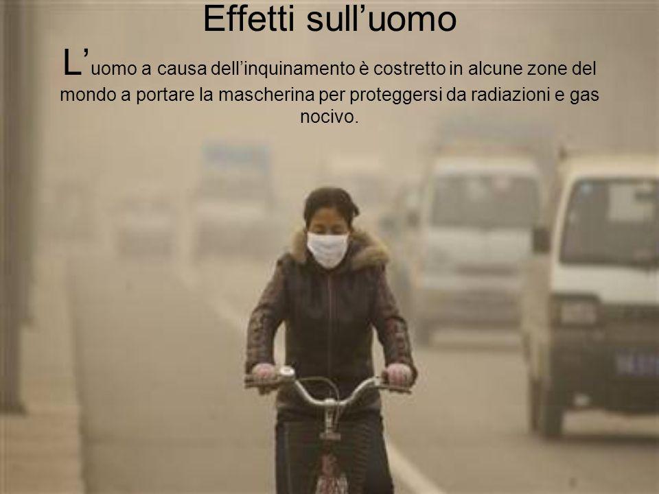 Effetti sulluomo L uomo a causa dellinquinamento è costretto in alcune zone del mondo a portare la mascherina per proteggersi da radiazioni e gas noci