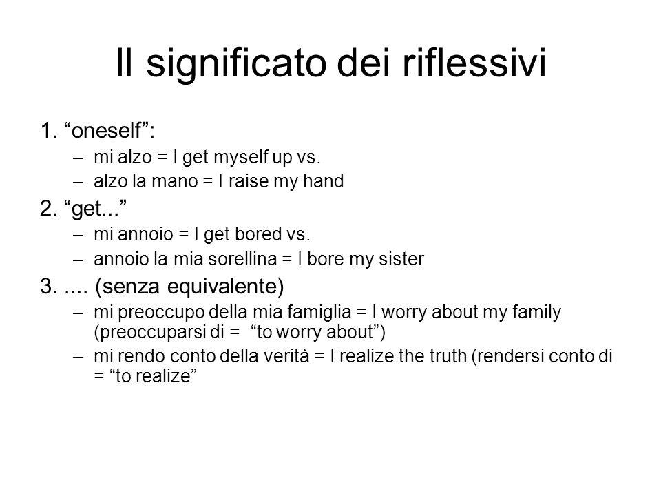 Il significato dei riflessivi 1. oneself: –mi alzo = I get myself up vs. –alzo la mano = I raise my hand 2. get... –mi annoio = I get bored vs. –annoi