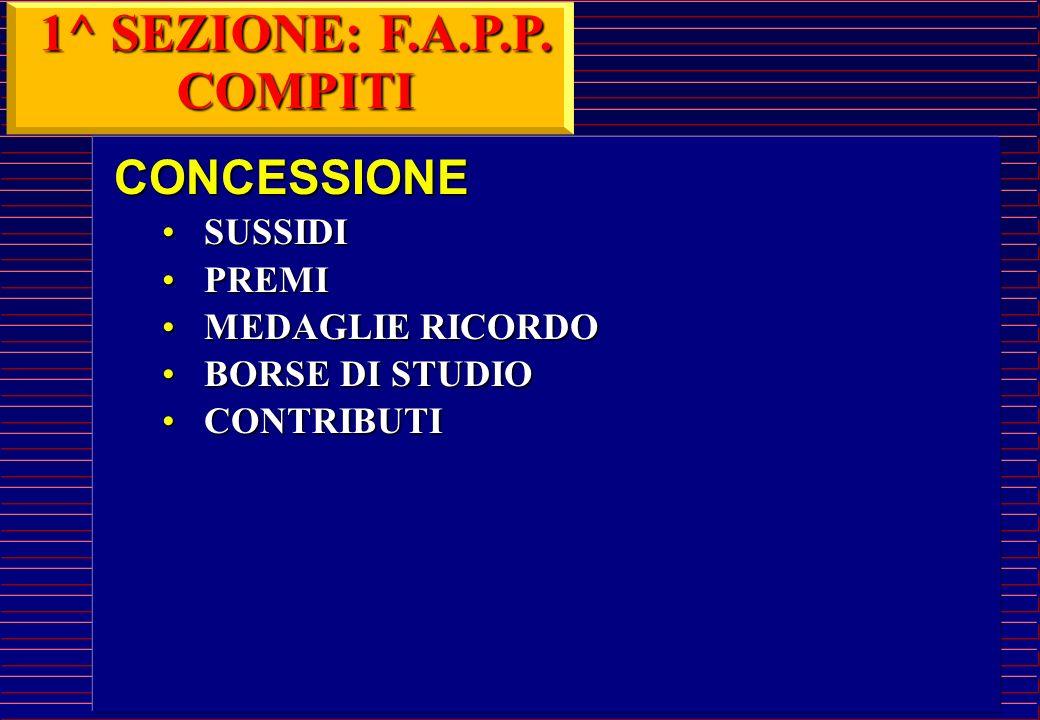 Svolge attività di segreteria F.A.P.P.; Predispone la concessione di sussidi, premi, contributi e borse di studio; Provvede all'erogazione di somme a